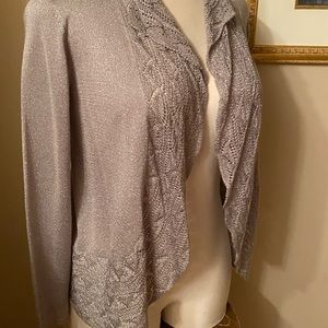 Chico's Silver open front cardigan size 8